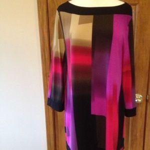 Style & Co. Purple Black Beige Multi Tunic Top